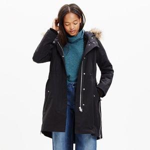 Madewell black side-zip field parka faux-fur hood